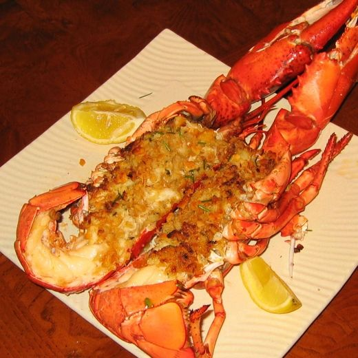 http://www.yummly.com/recipe/Jasper-White_s-Baked-Stuffed-Lobster-Food-Network. Baked Stuffed Lobster by Jasper White. *You can substitute the cornbread with Ritz or other buttery crackers or with oyster crackers (about 3 ounces for any filler used.)