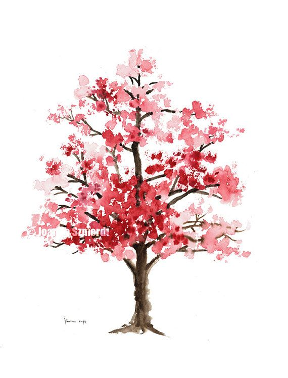 Cherry Blossom Tree, Cherry Blossom Watercolor Painting, Pink Art Print, Giclee Print, Pink Nursery Decor, Watercolor Tree