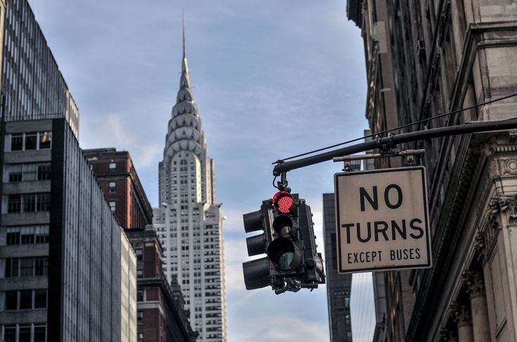 Chrysler Building and signal from street level, New York