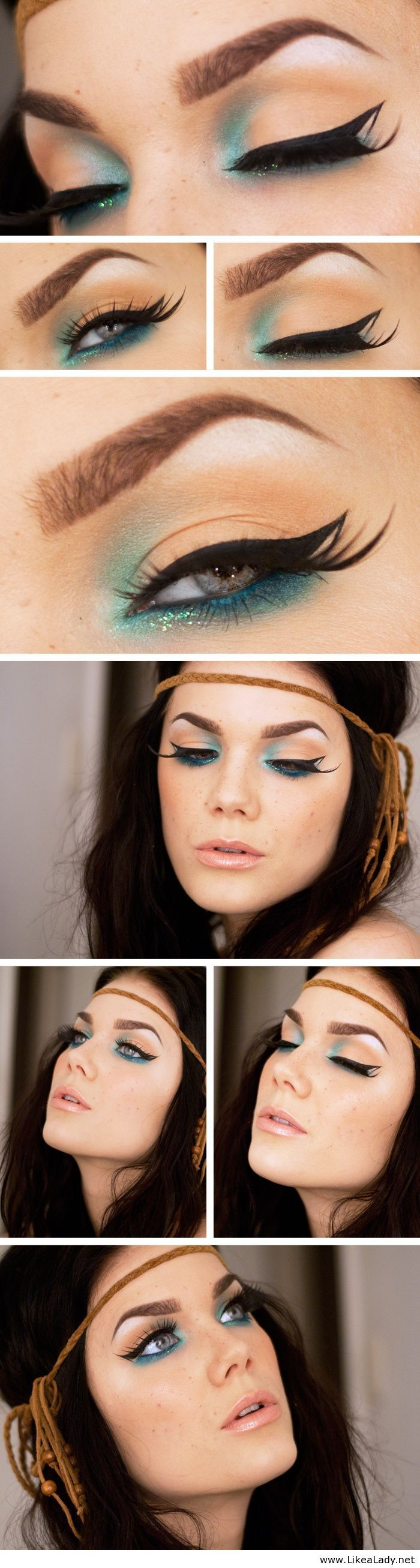 Blue and nude makeup