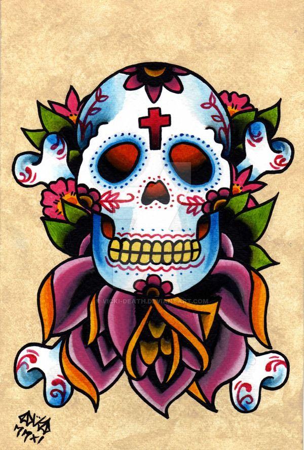 Sugar Skull and Cross Bones by Vicki-Death on DeviantArt