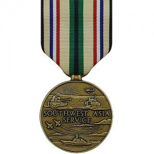 The Southwest Asia Service Medal (SWASM) is a decoration presented by the U.S. Armed Forces to recognize military members who served active duty in support of Operation Desert Shield or Desert Storm within designated geographical regions during the Persian Gulf War.