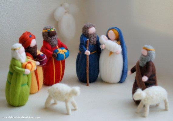 Natività, Re Magi, Pastore, due pecore, presepe lana fiaba ispirazione Waldorf