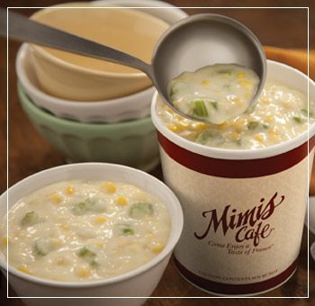 Mimi's Cafe corn chowder recipe. I've made this several times and it's always amazing, I just add twice the cream corn, and half or less of the half and half :) -Lauren