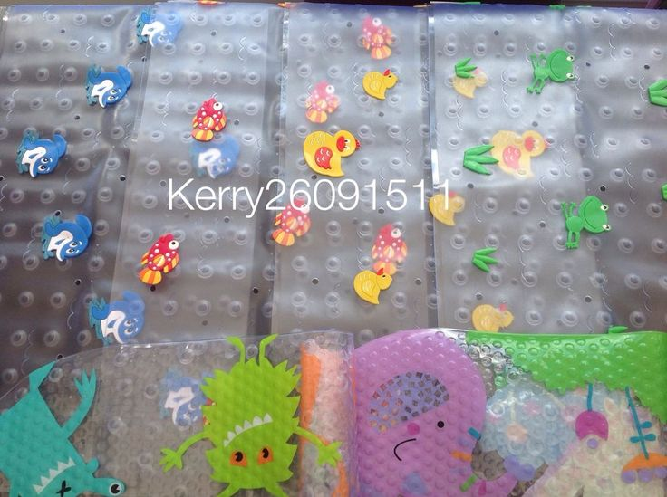 NOVELTY NON SLIP MULTICOLOURED BATH MAT ANTI SLIP SUCTION CUP KIDS ANIMAL FUN