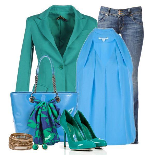 Туфли цвета морской волны, джинсы, голубая туника, бирюзовый пиджак, ярко-синяя сумка