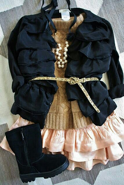 Cardigan, Gold Sweater, Pink Ruffle Skirt & Black Ugg Boots---> Someday I can't wait to dress my baby girl in outfits like theses