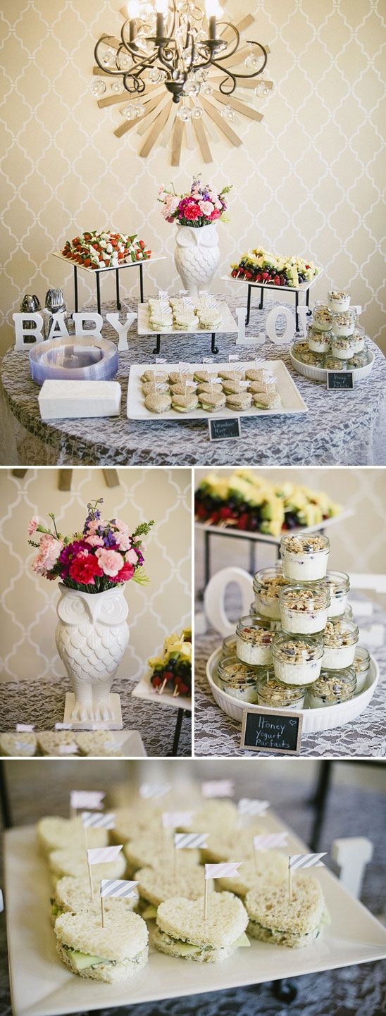 "This party is the CUTEST! Love the decorations. MY FUTURE BABY GIRL BABY SHOWER. :) //Baby shower food spread - yogurt parfaits & mini sandwiches on heart cut-out bread [mini ""monte cristos"" will work]"