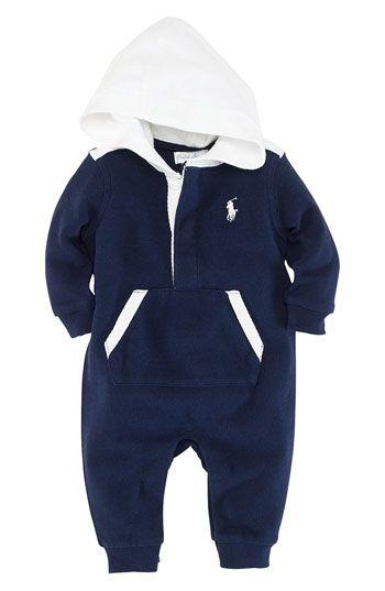 Ralph Lauren Hooded Romper (Infant) available at Nordstrom