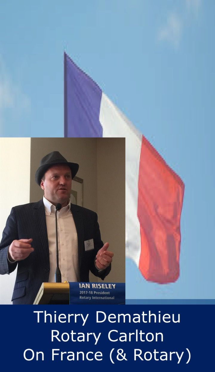 Thierry is from Rotary Carlton.  He introduced his parents Josie and Pierre, both French Rotarians, and then told us a little about differences between life in France and Australia, before adding some facts about his own club.