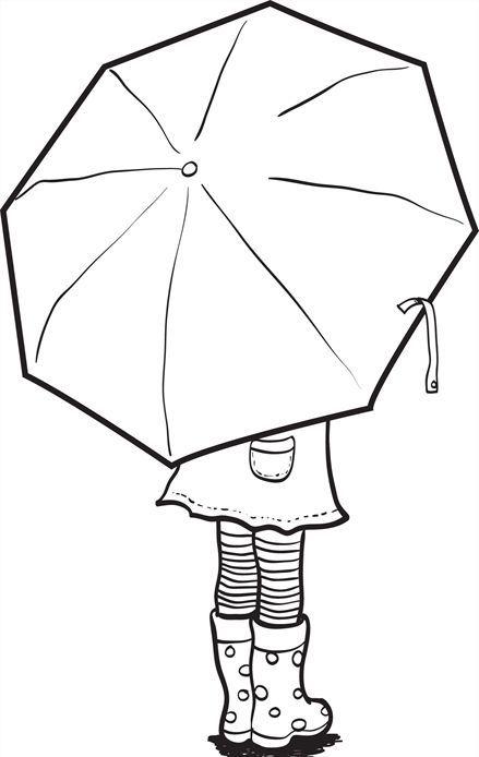 Umbrella Coloring Page värityskuva lapset sateenvarjo syksy