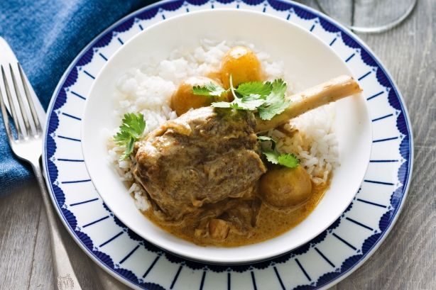 Slow cooked massaman curry lamb shanks