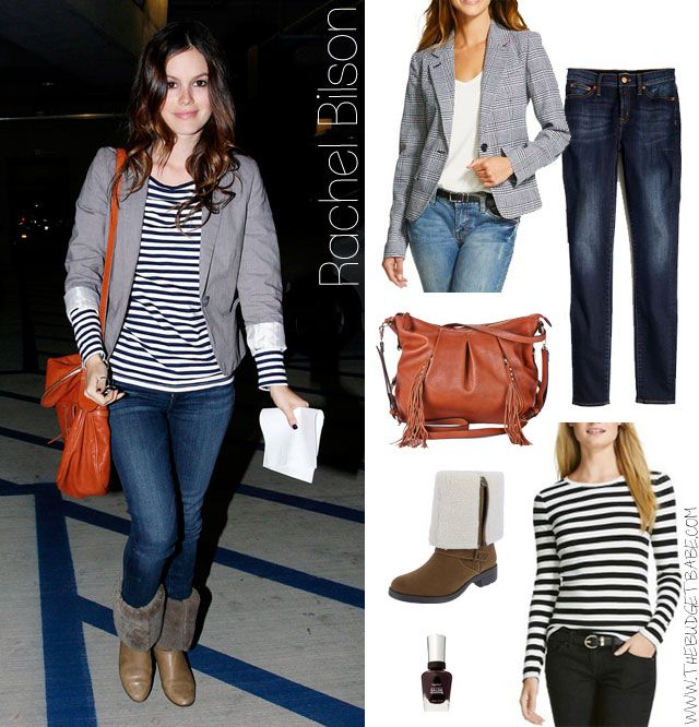 Rachel Bilson's striped shirt, gray blazer and fur cuff boots look for less: