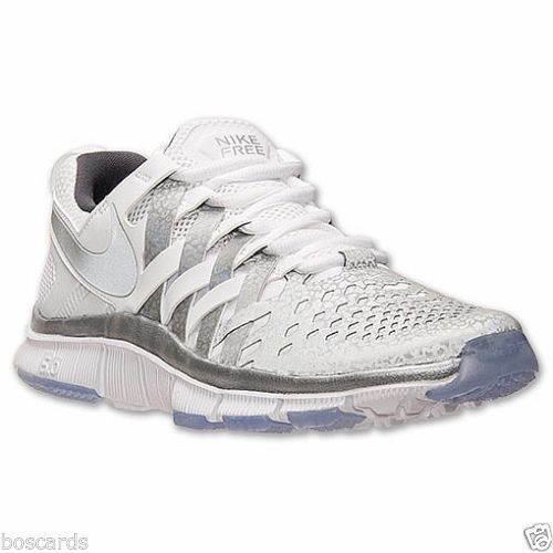 NIKE FREE TRAINER 5.0 NRG US SZ 8 SHOES 579813 102 NWOB WHITE SILVER GREY