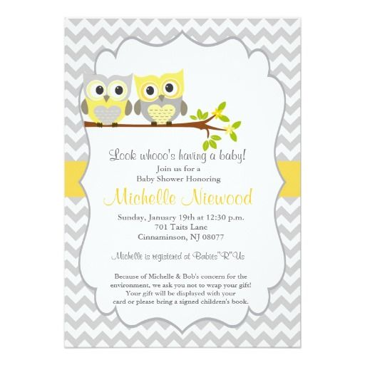 "Owl Baby Shower Invitation 5"" X 7"" Invitation Card"