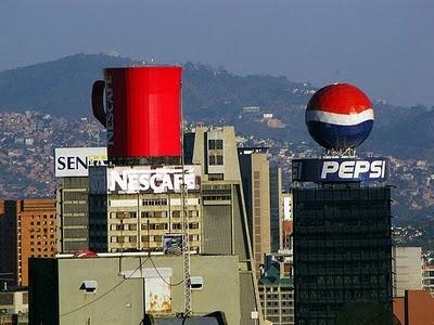 Pepsi ads in bulding