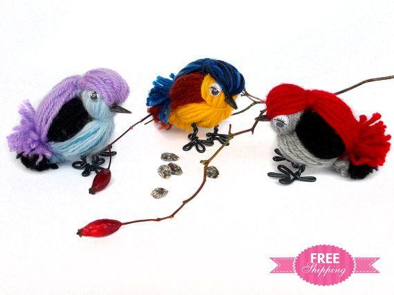 Ручной вязки мягкие игрушки Животные Радостные Птицы Набор, вязаные мягкие игрушки, вязать Чучела животных, вязаные игрушки Животные, декоративных птиц