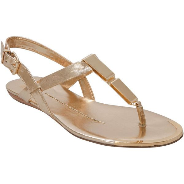 Dolce Vita Women's Abley Gold Flash Stella Flat Sandal (64 AUD) ❤ liked on Polyvore featuring shoes, sandals, gold, low heel sandals, gold flat sandals, ankle wrap sandals, gold ankle strap sandals and flat sandals