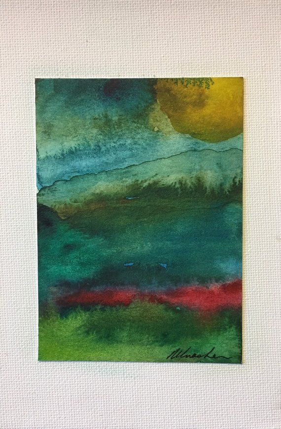 Original Watercolour Abstract Landscape Painting On Canvas Board