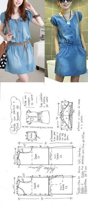 Vestido com elástico abotoado na frente | DIY – molde, corte e costura – Marlen…