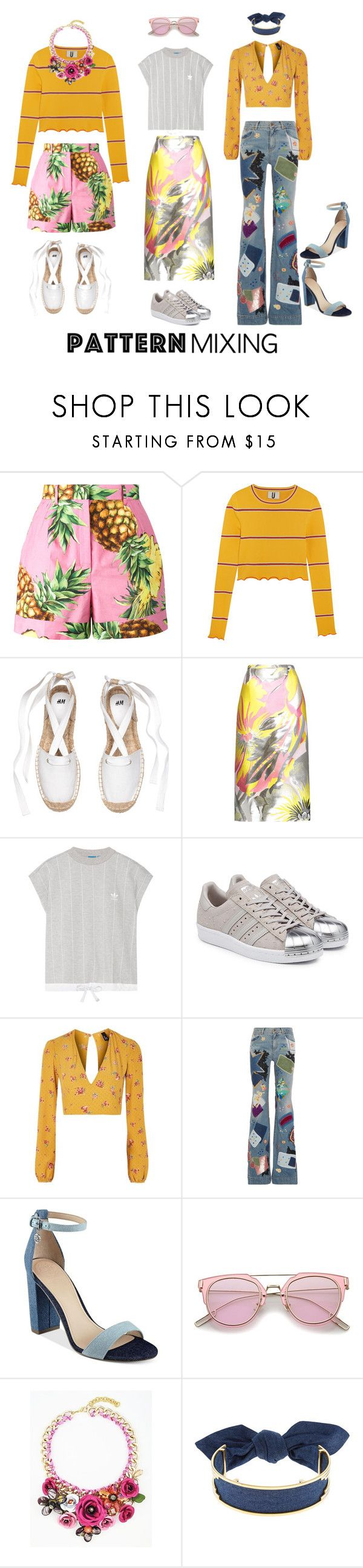 """""""#PatternMixing #MixitUp"""" by thriftytee ❤ liked on Polyvore featuring Dolce&Gabbana, Topshop Unique, Rochas, adidas Originals, Nobody's Child, Roberto Cavalli, GUESS and Monica Sordo"""