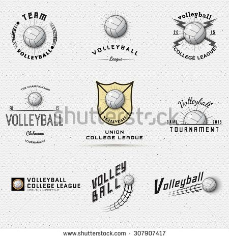 Volleyball badges logos and labels can be used for design, presentations, brochures, flyers, print, sports equipment, corporate identity, sales - stock vector