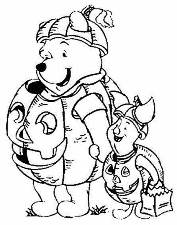 Cute Halloween Coloring Pages For Kids Winnie The Pooh Disney