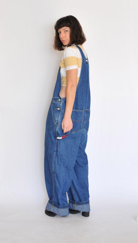 vtg 90s oversized tommy hilfiger overalls jeans 1990s 90 39 s. Black Bedroom Furniture Sets. Home Design Ideas