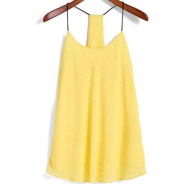 Spaghetti Strap Yellow Cami Top featuring polyvore, fashion, clothing, tops, yellow, camisoles & tank tops, camisole tank, yellow cami top, yellow top and cami tops