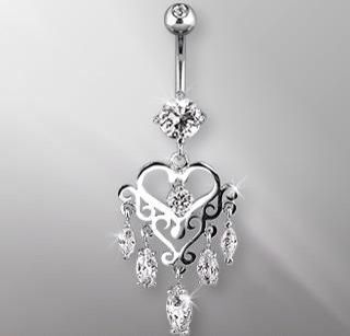 Silver heart shaped belly button ring with dangles