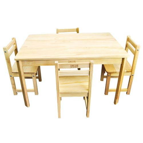 Childrens Natural WOOD Table + 4 Chairs Rectangle Kids Dining Set