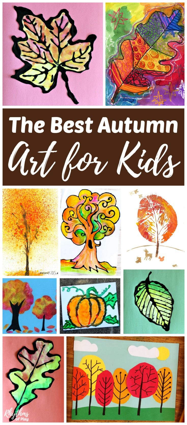 The best fall art projects for kids! Inside you will find easy craft and painting ideas for fall leaves, autumn trees, apples, pumpkins, scare crows, and owls. These creative projects are perfect for an art class at home or school. #fall