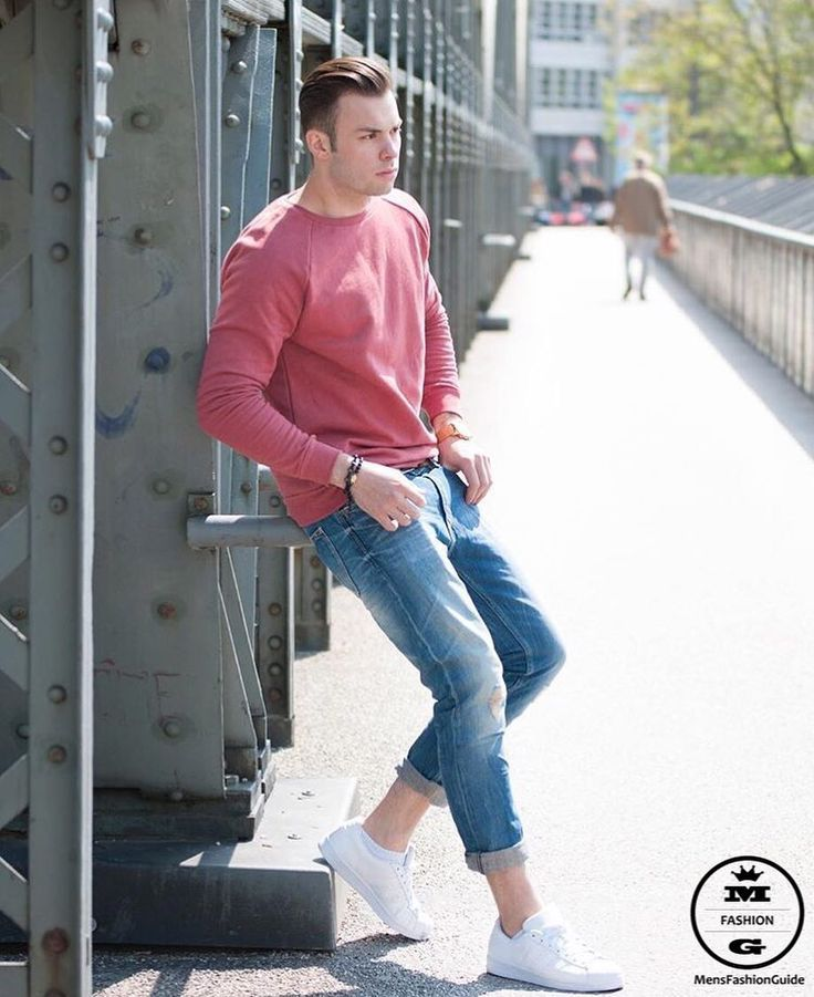 Look #5: Mens - Salmon crewneck sweater + double bracelet + Lightwash denim jeans + white sneakers  Fall/Winter  Crewneck Sweater...Nuf said