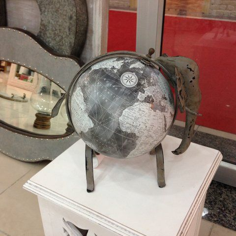 Elephant globe..! Such a unique handmade piece!  To purchase or enquire email us: info@handmadeworld.in or call us: +91 9899440144 (India)