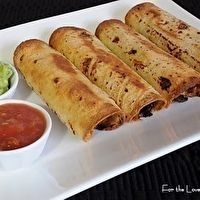 GROUND BEEF, BLACK BEAN, AND CHEDDAR CHEESE TAQUITOS by Amy
