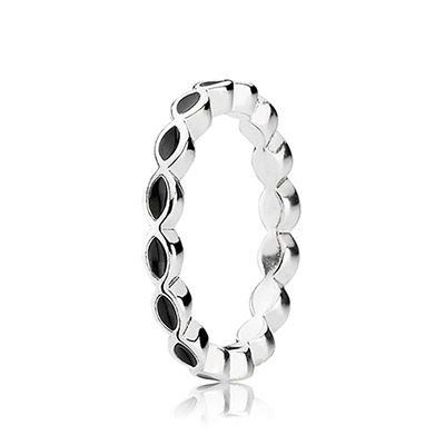 This black enamel twist ring is a fun addition to your PANDORA collection! Made from sterling silver, the ring has been formed into a twist design with black enamel adding detail to the look of the ring. Stack with other rings of the same style for impact! #PANDORAring