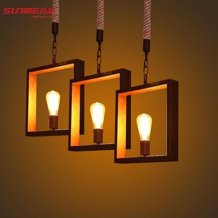 Newest Art Deco <b>Vintage</b> E27 <b>pendant light</b> LED lamp metal <b>cube</b> ...