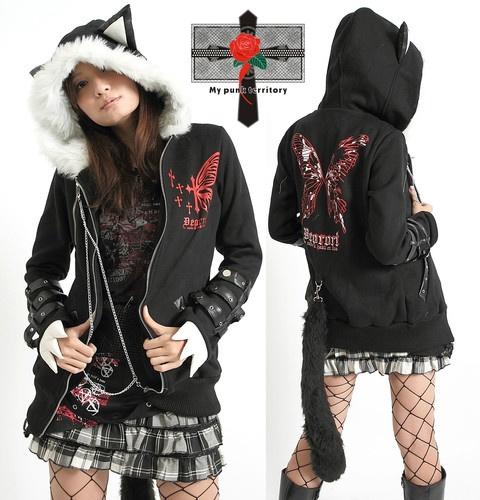 Japan Visual Kei Butterfly Hell MEOW Hoodie EMO Jacket