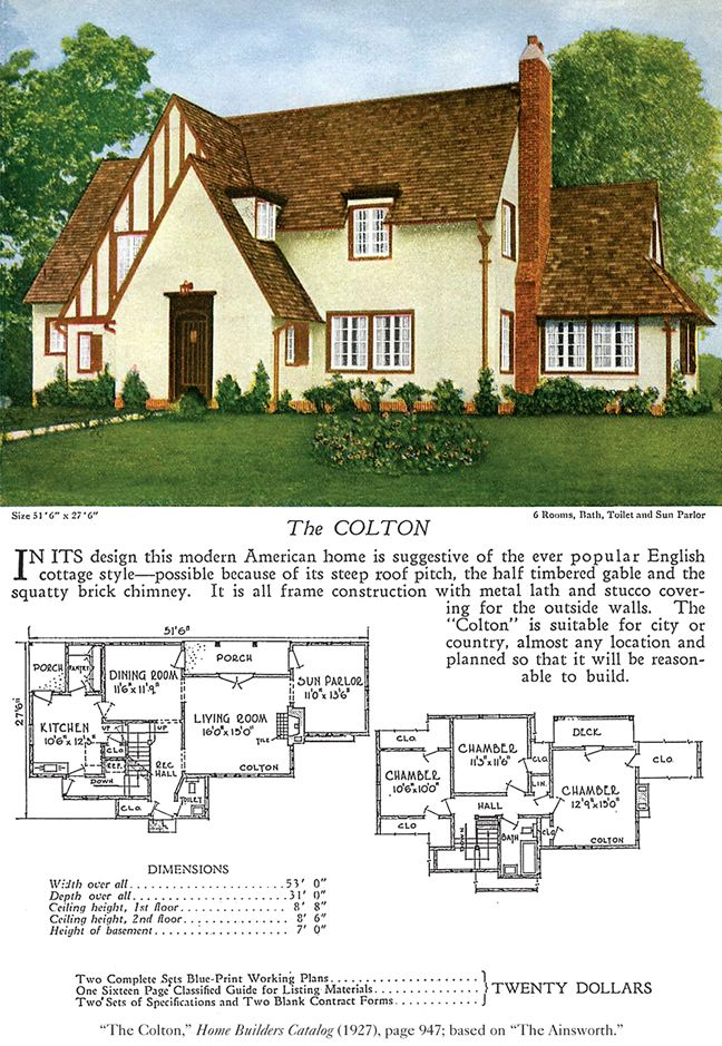 1017 best images about vintage house plans 1920s on for Historic tudor house plans