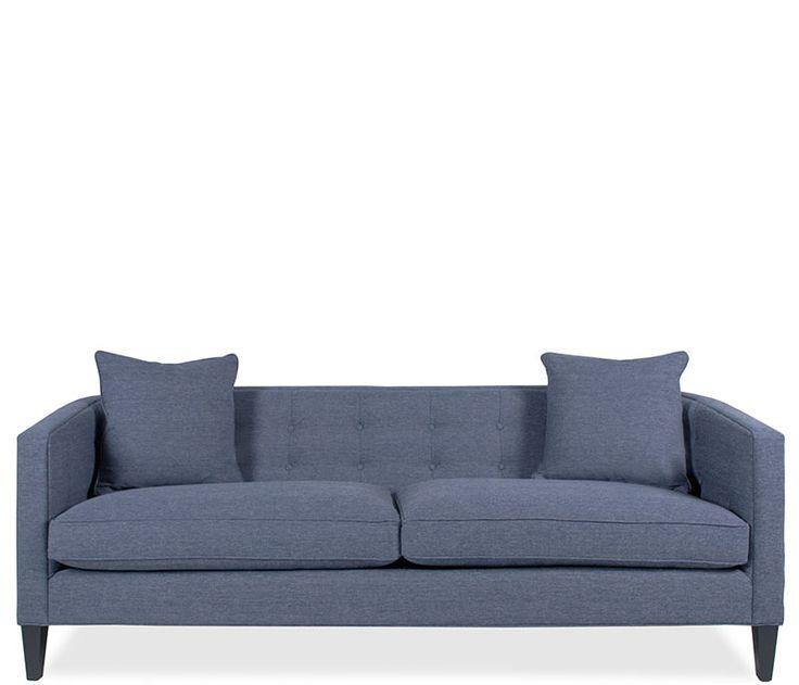 Josie Sofa Quinn Denim The Josie Sofa In Quinn Denim Features Matching Self Toss Pillows And