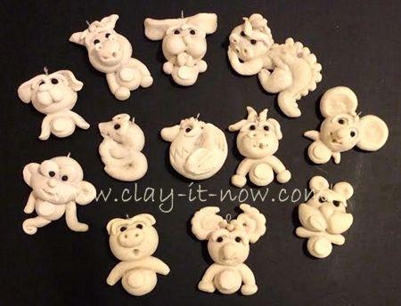 Chinese zodiac 12 animal signs salt dough craft it was for Salt dough crafts figures