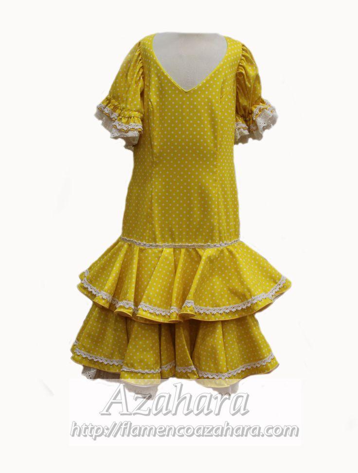 #TrajeDeFlamenca DELICIA  Con fondo en #amarillo y topos en blanco. También disponible en #rojo.  #Azahara #Fuengirola