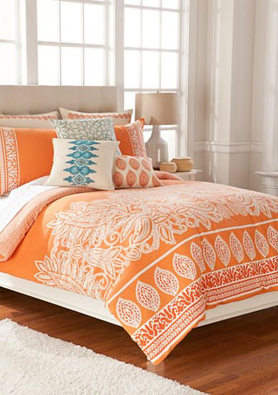 Organic paisleys and woodblock motifs represent local surf culture style adding to the soft and luxurious enzyme-washed linen cotton blend. Deep hues of orange create an organic ambiance for the bedroom. The decorative accessories promote a handcrafted boardwalk look with modern details. Embrace endless summer warmth with this stylish home collection.