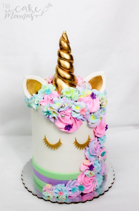 pastel colored unicorn themed birthday cake! call or email to book your custom cake today! #Unicorn #birthday #rainbows #pastels #unicorncakes