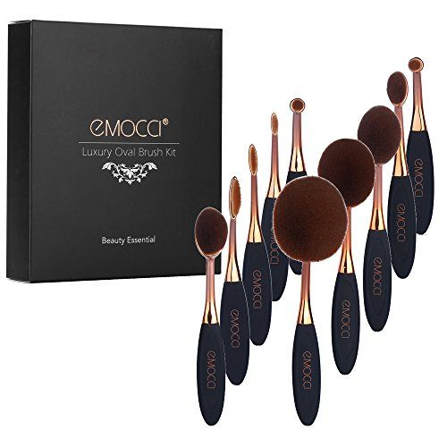 Oval Makeup Brush Set Toothbrush Cute Elite Spoon Make up Cosmetic Brushes for Powder Foundation Contour Blush Concealer BB Cream Eye Kit (10pcs Rose Gold)  All COSMETIC BRUSHES INCLUDE---The set includes for powder foundation brush,liquid foundation brush,concealer brush, contour brush, color blending brush, eyeshadow brush, eye brows brush, lip brush and eyeliner brushes.  MULTI-FOUNCTION BRUSH---Fashion oval toothbrush makeup brushes will work well with any type of cosmetic like pow...
