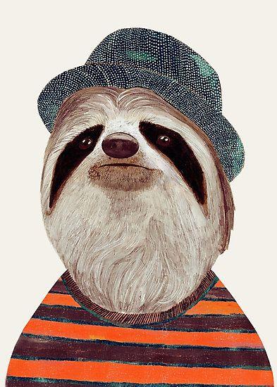 Fotodruck mit Faultier   Sloth   mit Hut   Streifen   Tiere   Illustration   Kunst & Design