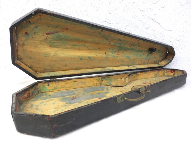 "Antique Violin Wood Case X"" Handmade, Black Casket Funeral, Brass Handle"