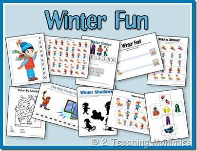 Winter fun - Will loves everything preschool - put everything in a winter-themed notebook in sheet protectors so he can do them over and over again with dry erase markers
