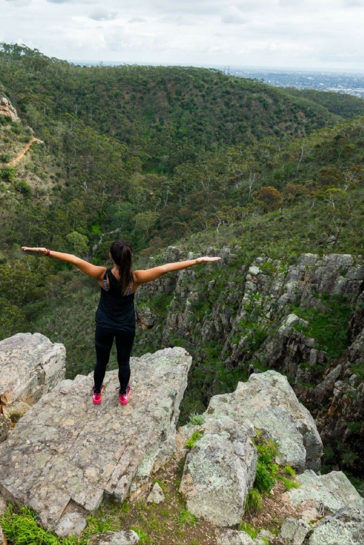 HIKING MORIALTA FALLS IN ADELAIDE AUSTRALIA Morialta Falls, home of the Three Falls hike and many other walking trails, offers scenic views of the breathtaking hills surrounding Adelaide.