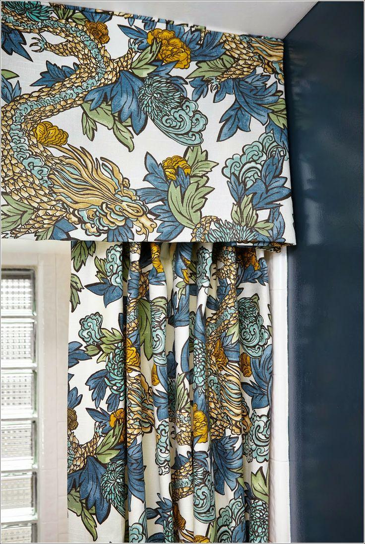 Ming Dragon Midnight Curtain + Valence | Thanks DwellStudio for pinning my bathroom shower curtain!